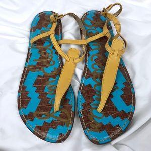 SAM EDELMAN Gigi Mustard Yellow Leather Sandal